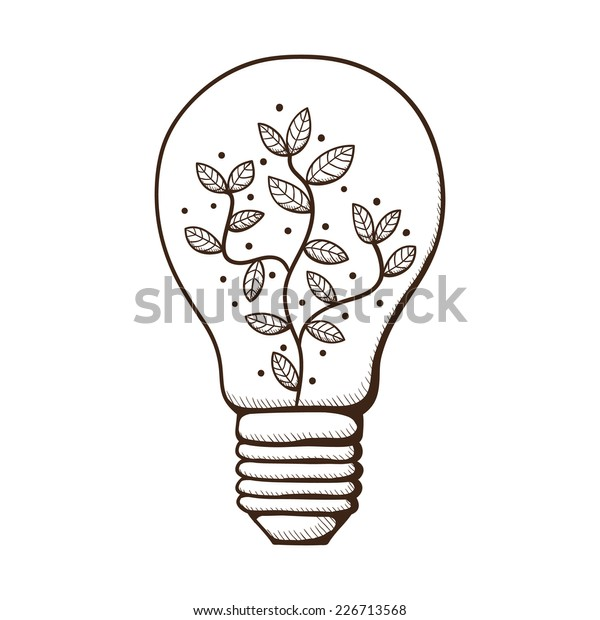 Light Bulb Leaves Within Sketch Design Stock Vector Royalty Free 226713568