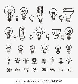 Light bulb and LED lamp. Vector illustration.