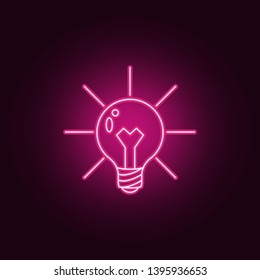 light bulb and lighting neon icon. Elements of Idea set. Simple icon for websites, web design, mobile app, info graphics