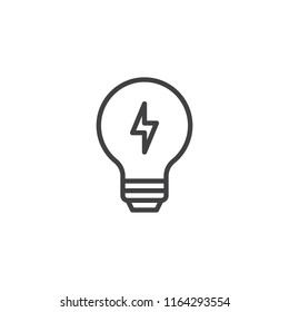 Light Bulb with lightning outline icon. linear style sign for mobile concept and web design. Lamp Energy simple line vector icon. Symbol, logo illustration. Pixel perfect vector graphics