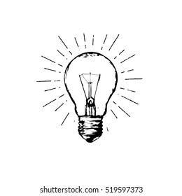 Light bulb line hand drawing sign. Illustration for print, web