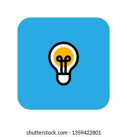 Light Bulb line icon. Idea symbol. Solution and thinking concept. Electric lamp pictogram inside rounded blue square.