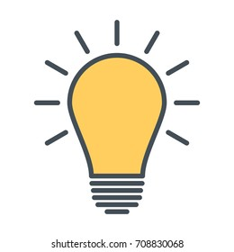 Incandescent light bulb lightbulb turned on stock vector royalty light bulb line icon idea sign solution thinking concept lighting electric lamp publicscrutiny Images