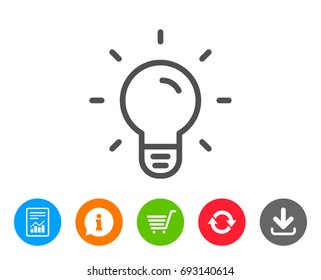 Light Bulb line icon. Lamp sign. Idea, Solution or Thinking symbol. Report, Information and Refresh line signs. Shopping cart and Download icons. Editable stroke. Vector