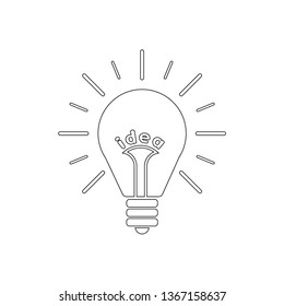 Light bulb line icon with rays shine. Energy and idea symbol isolated on white background. Vector Illustration