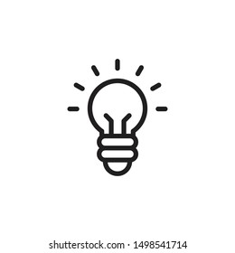 Light bulb line icon vector. Bulb, ideas, solution symbol. Trendy Flat style for graphic design, Web site, UI. EPS10.