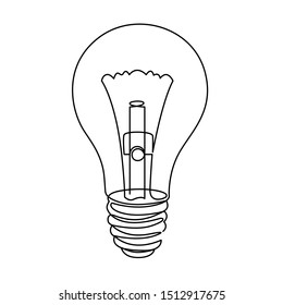 Light Bulb line icon vector illustration isolated on white background. Idea sign, solution, thinking concept clipart. Lighting Electric lamp continuous one line drawing. Electricity, shine doodle art