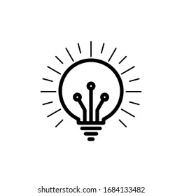 Light Bulb line icon vector, isolated on white background. Idea sign, solution, thinking concept