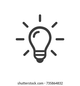 Light Bulb line icon vector, isolated on white background. Idea sign, solution, thinking concept. Lighting Electric lamp. Electricity, shine. Trendy Flat style for graphic design, Web site.