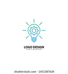 light bulb line logo design energy, concept idea of electric power