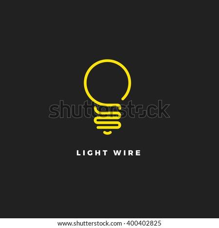 light bulb line vector logo template のベクター画像素材