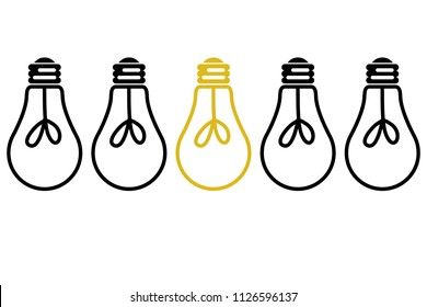 Light bulb lit between light bulbs.