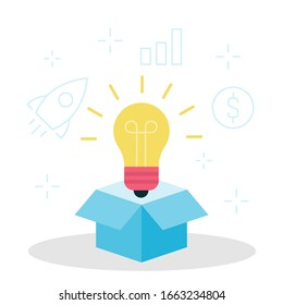 Light bulb looks out of the box vector illustration