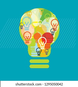 Light bulb made with light bulbs working together. Illustration