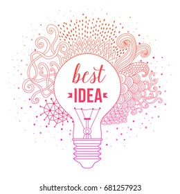 Light bulb made of hand drawn doodles, creative concept. Vector concept - creativity and motivation idea. Lettering. quote. Creative light bulb, Big idea, Creative Research
