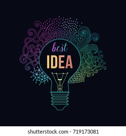 Light bulb made of handdrawn doodles, creative concept. Vector concept - creativity and idea. Lettering quote.
