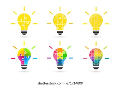 Light bulb made of puzzle pieces as idea concept. Set made of various color and complexity.