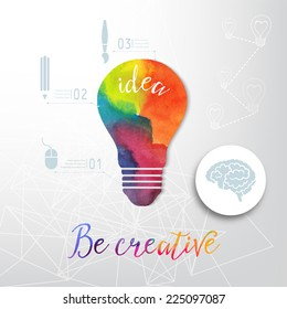 Light bulb made of watercolor, lightbulb and creative icons, watercolor creative concept. Vector concept - creativity and idea. Lettering. quote. Creative light bulb