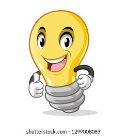 Light Bulb Mascot with Thumbs Up Gesture Hand Cartoon Character Design Vector Illustration