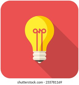 Light Bulb, modern flat icon with long shadow