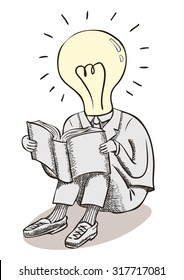Light bulb moment man. Brain power and great ideas. A conceptual line drawing with crosshatch shading of a man in a suit, with a lightbulb head reading a book.