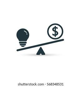 Light bulb and money on scales icon. Vector business concept. Black illustration.