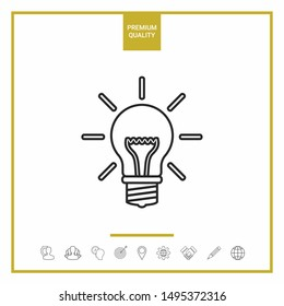 Light bulb - new ideas. Line icon. Graphic elements for your design