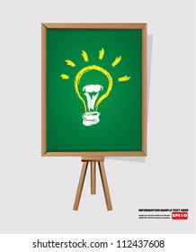 Light bulb on blackboard background,Vector