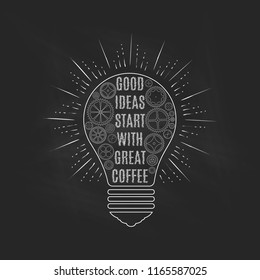 Light bulb on blackboard, an idea concept. Vector illustration