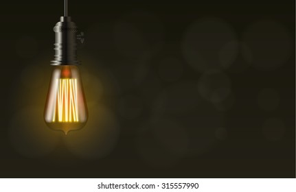 light bulb on dark vector background with copy space