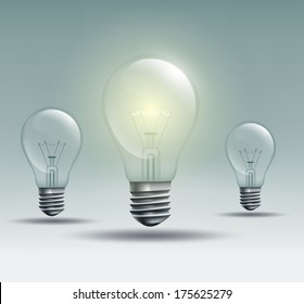 with the light bulb on a gray background