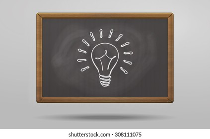 Light bulb painted on blackboard