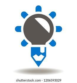 Light bulb pencil icon vector. Education Logo. Creative development illustration. Idea Innovation Designing Symbol.