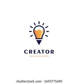 Light bulb and pencil logo template. Creative idea vector design. Smart writer logotype