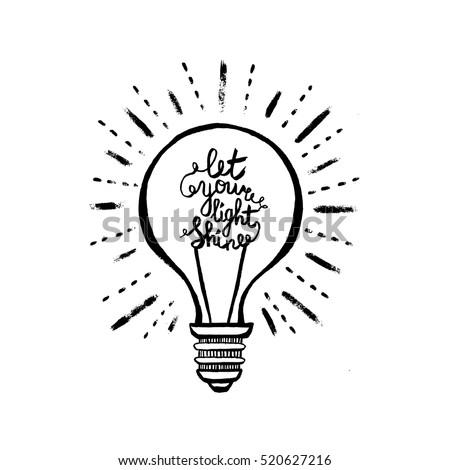 Light Bulb Phrase Let Your Light Stock Vector Royalty Free