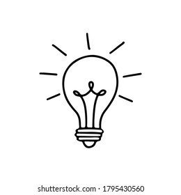 Light bulb with rays shine. Energy and idea symbol isolated on white background. Hand drawn vector doodle lineart illustration. Design for greeting cards, patches, prints, badges, posters