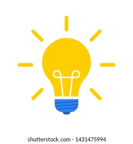 Light bulb with rays shine. Flat style energy and idea symbol. Vector illustration