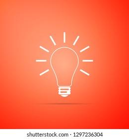 Light bulb with rays shine icon isolated on orange background. Energy and idea symbol. Lamp electric. Flat design. Vector Illustration