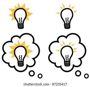 Light bulb representing an idea isolated and in a thought bubble, vector illustration set