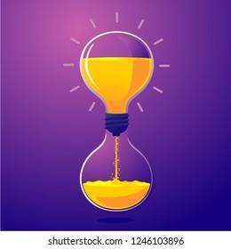 Light bulb and sand clock. Creative idea for deadline. Time managment metaphor. Vector illustration.