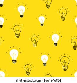 Light bulb Seamless Pattern hand drawn. Vector Illustration.