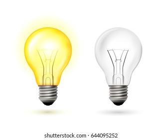 Light Bulb set. Vector illustration in Transparent technique