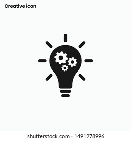 Light Bulb with Setting Gear sign Icon