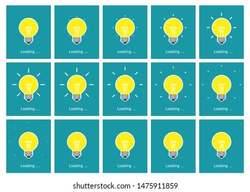 Light bulb shining animation sprite sheet in flat style. Vector illustration on blue background. Can be used as preloader