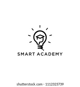 Light bulb shining symbolizes intelligence Academy merged with the graduate's Cap