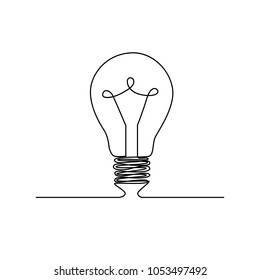 Light bulb. single line. continuous line. Vector Eps10