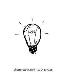 Light Bulb. Sketch of an electric device. Black and white illustration. Cartoon doodle lighting concept and ideas