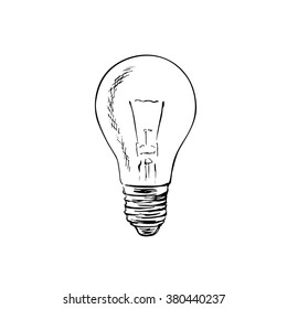 Light bulb sketch. The symbol of the idea. Hand drawn vector illustration.