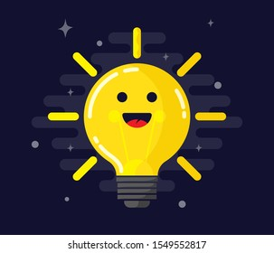 light, bulb, smile, lamp, icon, vector, emotion, happy, cute, inspiration, creativity, illustration, metaphor, emoticon, face, bright, business, cartoon, character, expression, fun, innovation, sign,