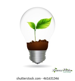 Light Bulb with sprout inside, eco  concept,save energy  icon,Green  plant,silhouettes of leaves,tree branch